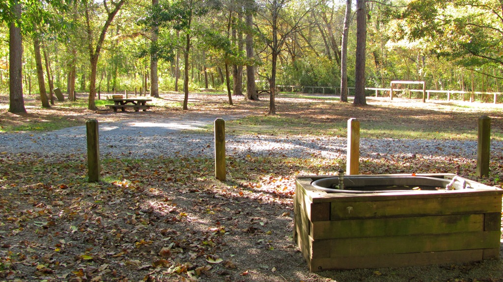 Picnic table, trough and hitching posts in Cottonwood Patch