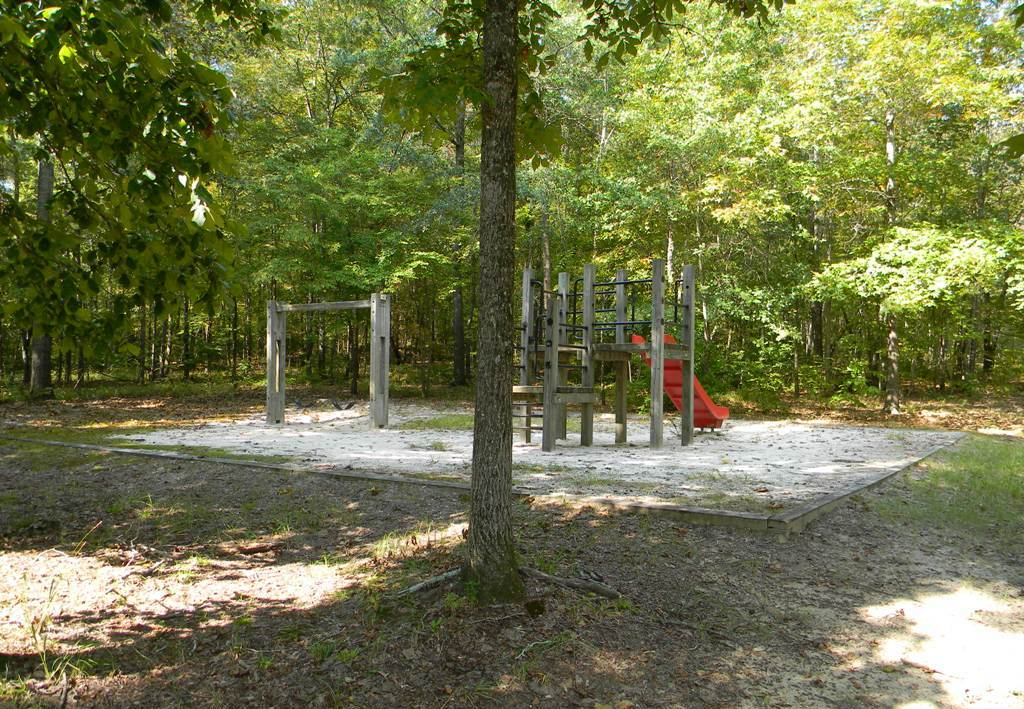 Playground set in the shade of the trees at Lake Sinclair Recreation Area