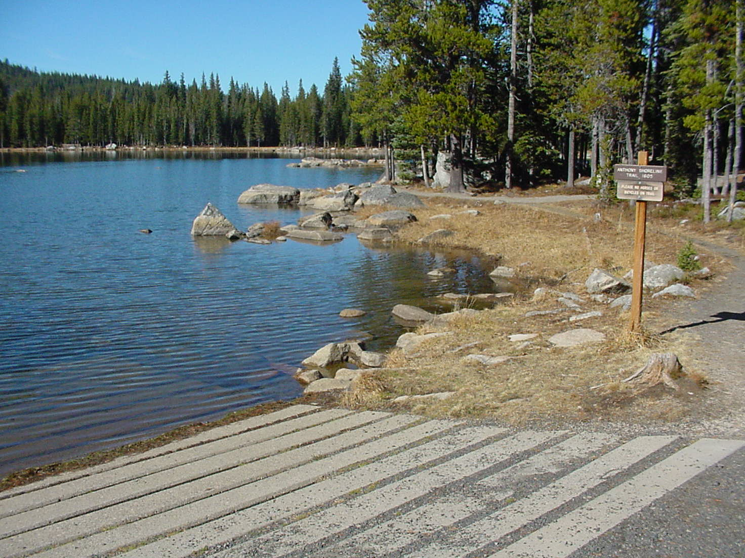 Small concrete boat ramp at Anthony Lake surrounded by pine trees