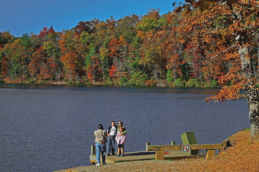 Lake Winfield Scott provides a great backdrop for a family photo on a sunny autumn afternoon.
