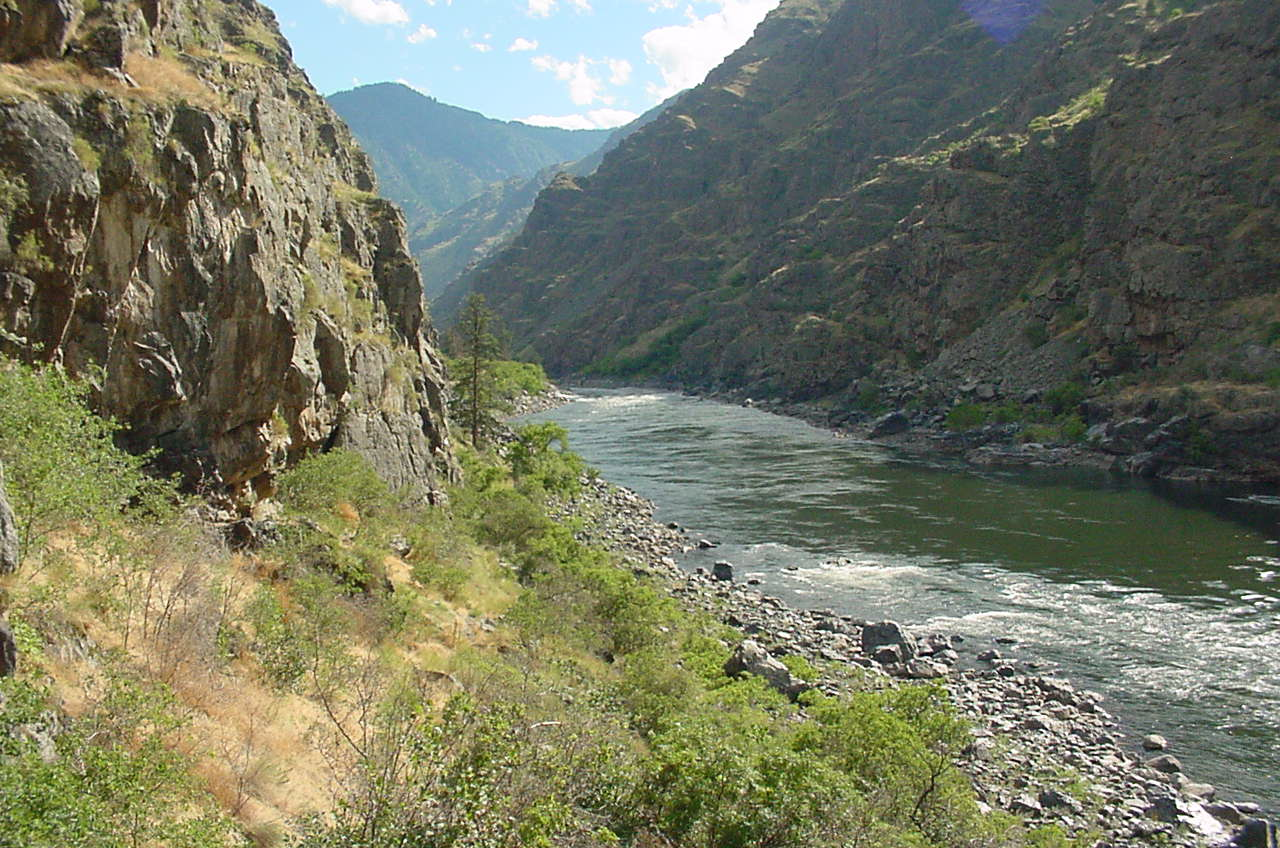 Wild section of Snake River with rocky canyon and river rapids