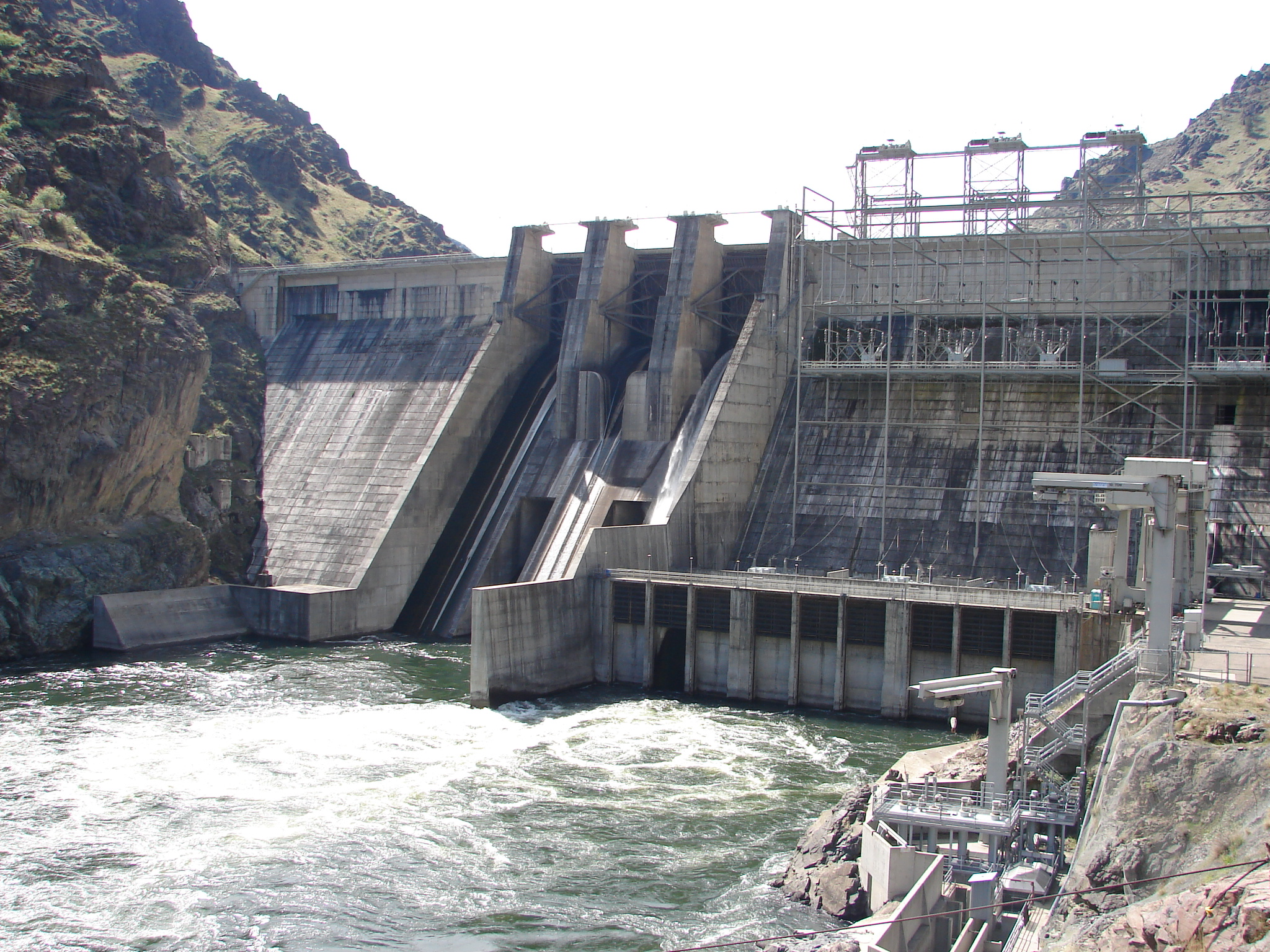 Water being released from the Hells Canyon Dam into the Snake River