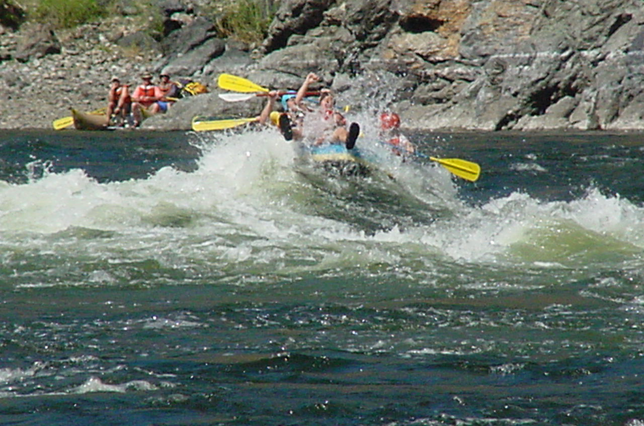 Raft runnig the Bernard Rapid on the Snake River