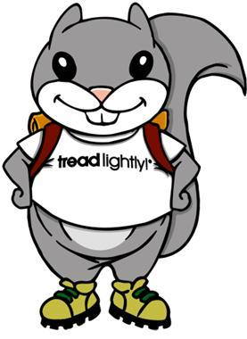 Lightfoot the cartoon squirrel for Treadlightly!