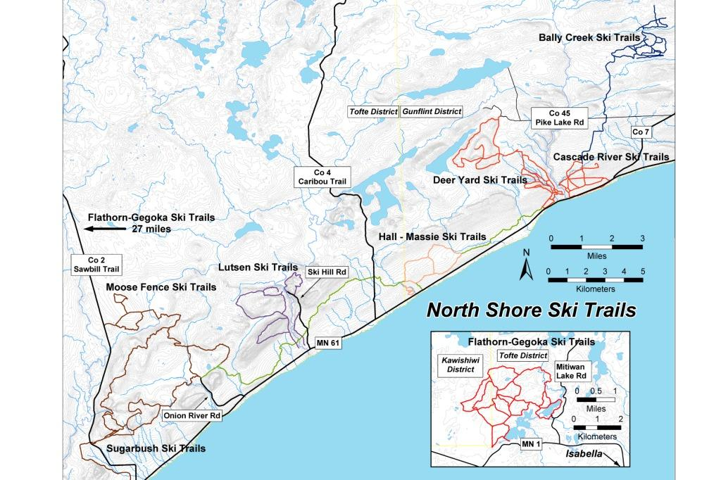 Map of North Shore Ski Trails