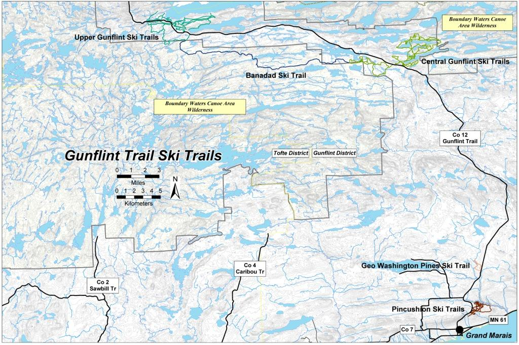 Map of Gunflint Trail Ski Trails