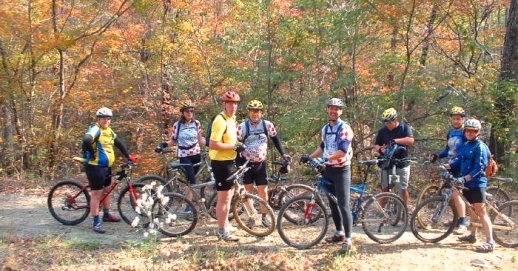 Group Bicycling at Frady Branch in autumn