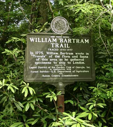 Sign for the Bartram Trail telling the history of the naturalist and how it relates to the trail