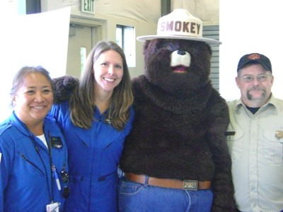 Smokey with flight nurses at Community Safety Day, Port Ludlow