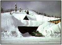 [Photo]: Snoqualmie Pass Visitor Center historical image ca. 1973, photo by Ken White