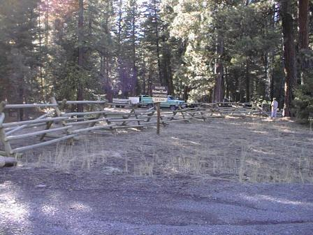 view of forested setting and campsites in Elk Creek Campgroun