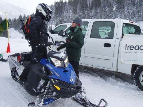 FS speaking with snowmobilers