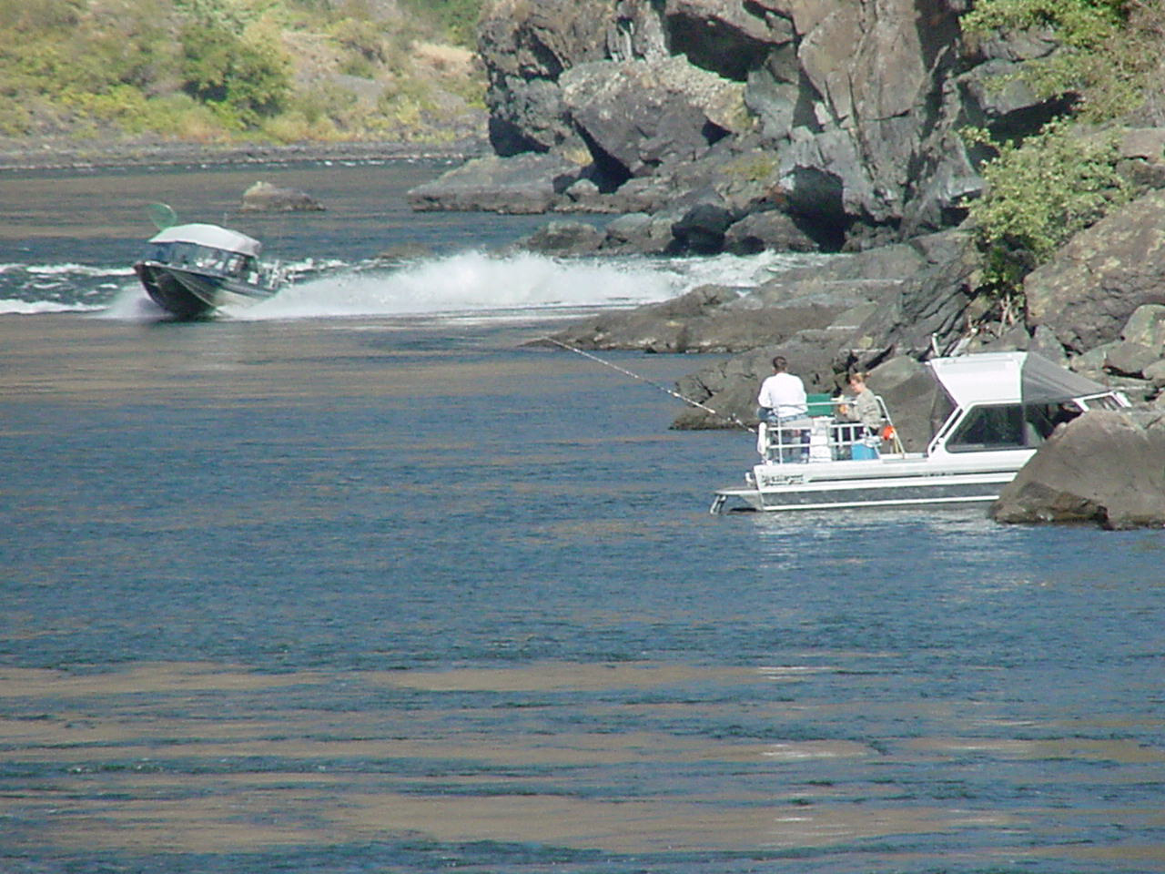 2 jetboats fishing on the Snake River in Hells canyon