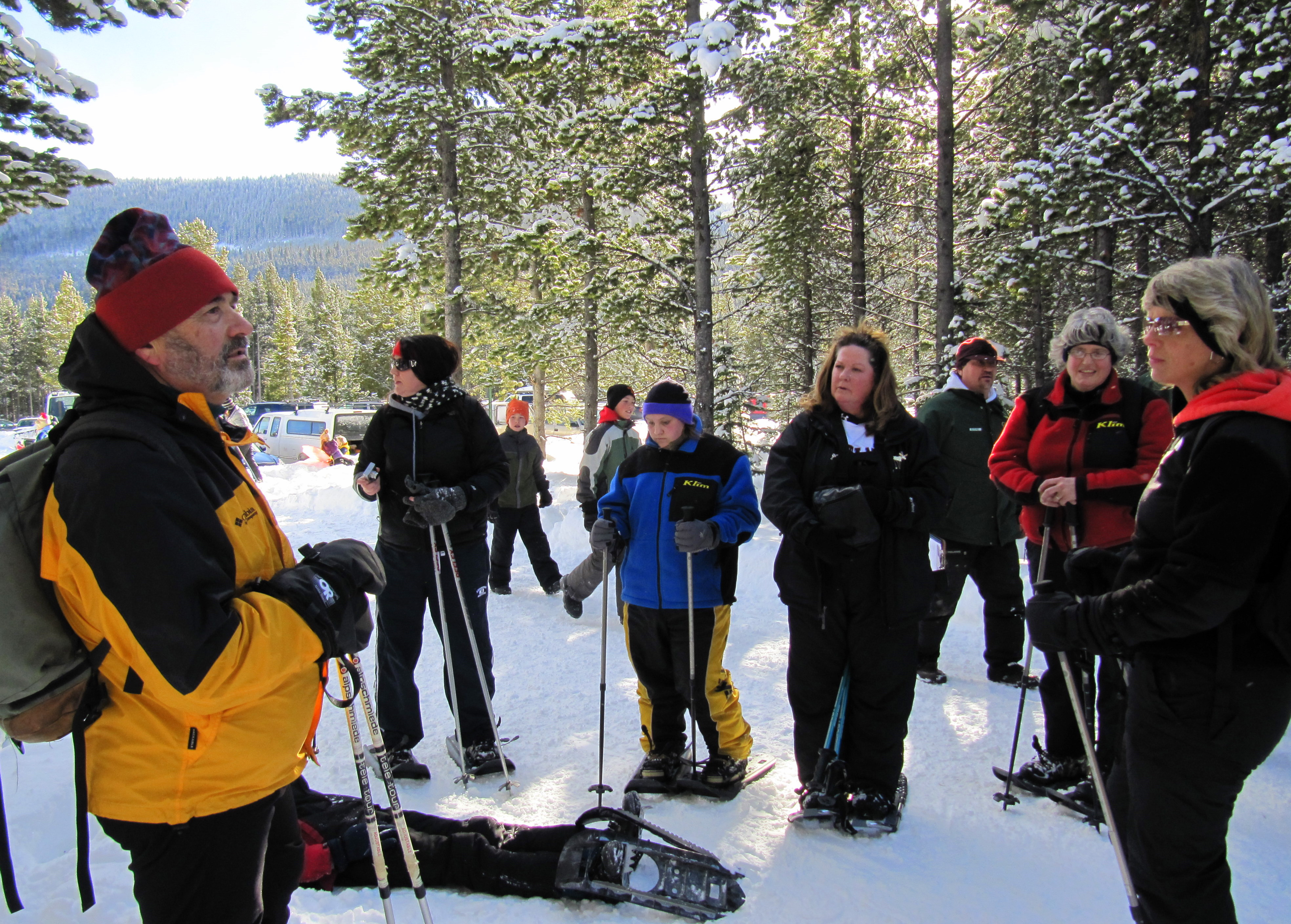Paul, Guide for the snowshoe hikes, giving rules to a group of snowshoers before a hike.
