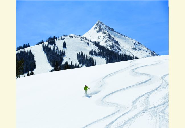 distance image of skier on fresh powder