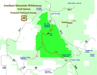 Gearhart Mountain Wilderness Trail Map