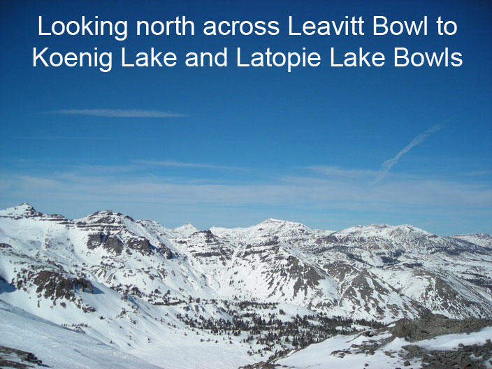 [Photo] Looking north across Leavitt Bowl to Koenig Lake and Latopie Lake Bowls.  Photo taken by Eri