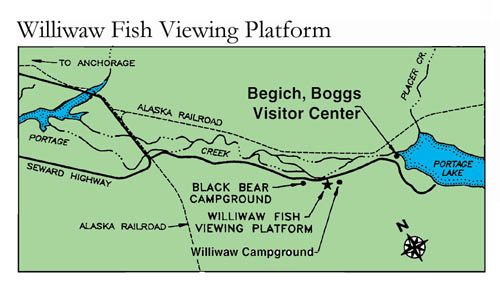 small map of Williwaw fish viewing platform