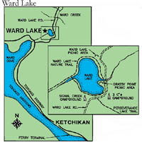small map of Ward Lake
