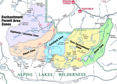 Small Map of Enchantment Permit Area Zones. Click for larger version.