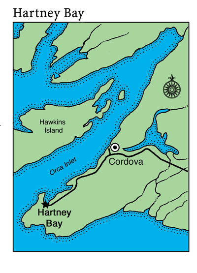 small map of Hartney Bay