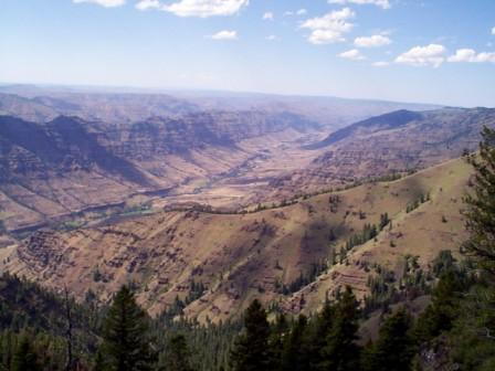 View of knife blade edged canyons in Imnaha River valley
