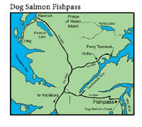 small map to Dog Salmon Fishpass