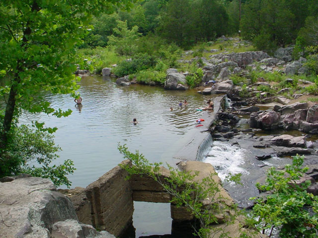 Old Mill Dam swimming hole in Marble Creek Recreation Area