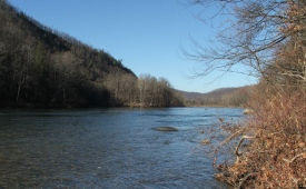 View of Nolichucky river in Cherokee National Forest