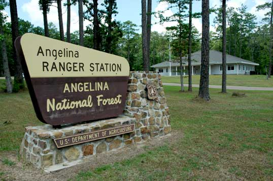 Angelina National Forest portal sign