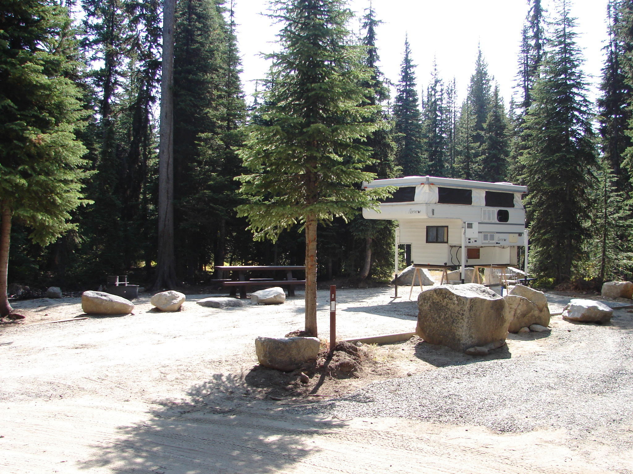 Truck camper at Grande Ronde Lake Campround in pine trees