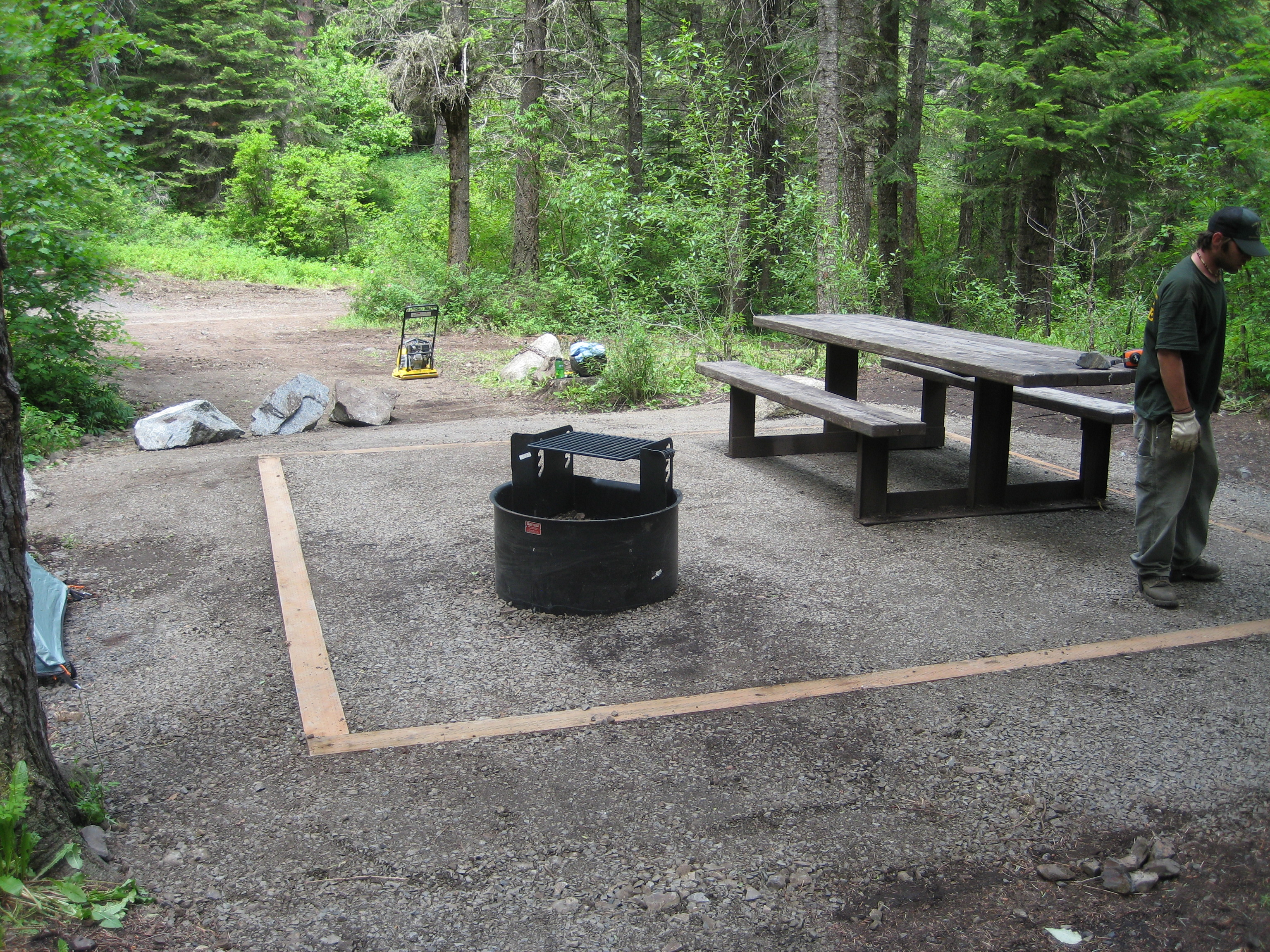Forest campsite with table and tent pad in trees