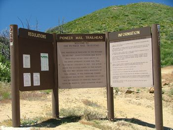 Photo of  Pioneer Mail Informational Sign at the Trailhead