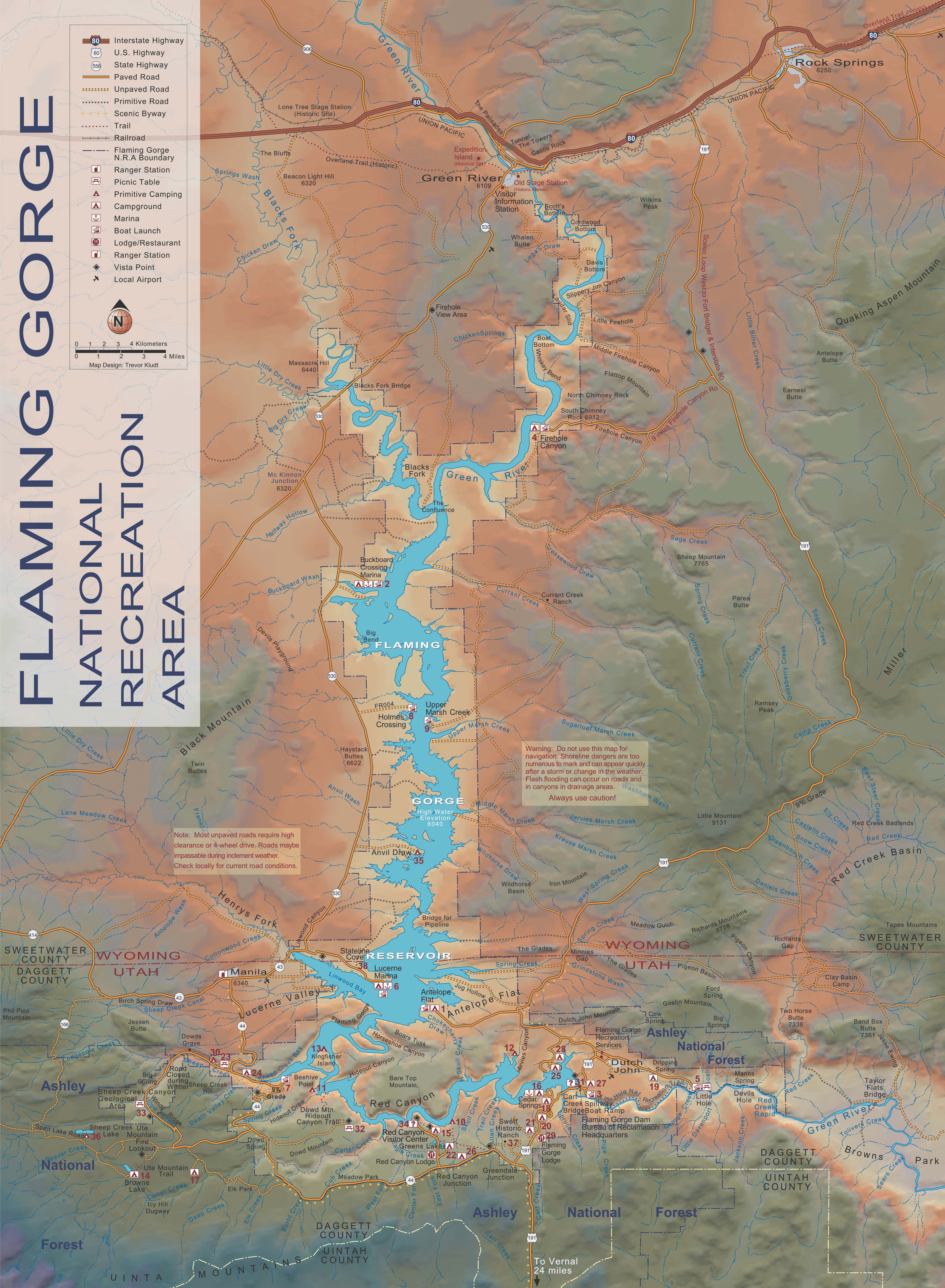 Flaming Gorge Map Ashley National Forest   Special Places Flaming Gorge Map