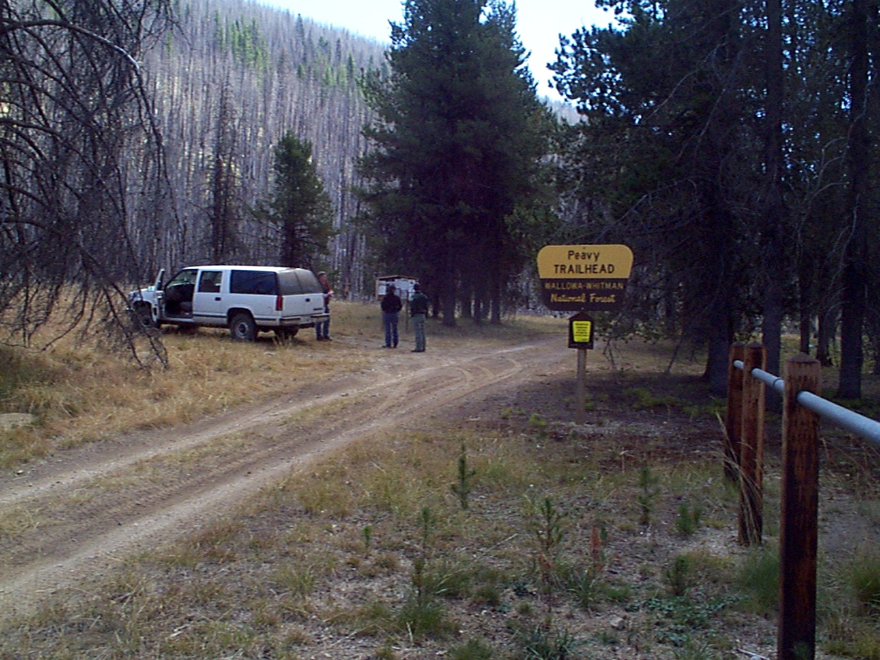 Hiker trailhead with pine trees and a truck parked