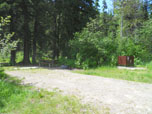 Lindbergh Lake Camp site with picnic table and fire ring