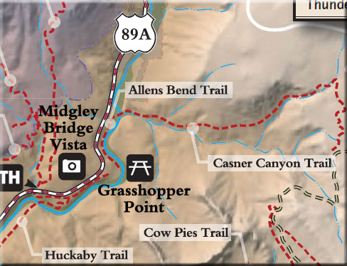 Map showing Allens Bend Trail