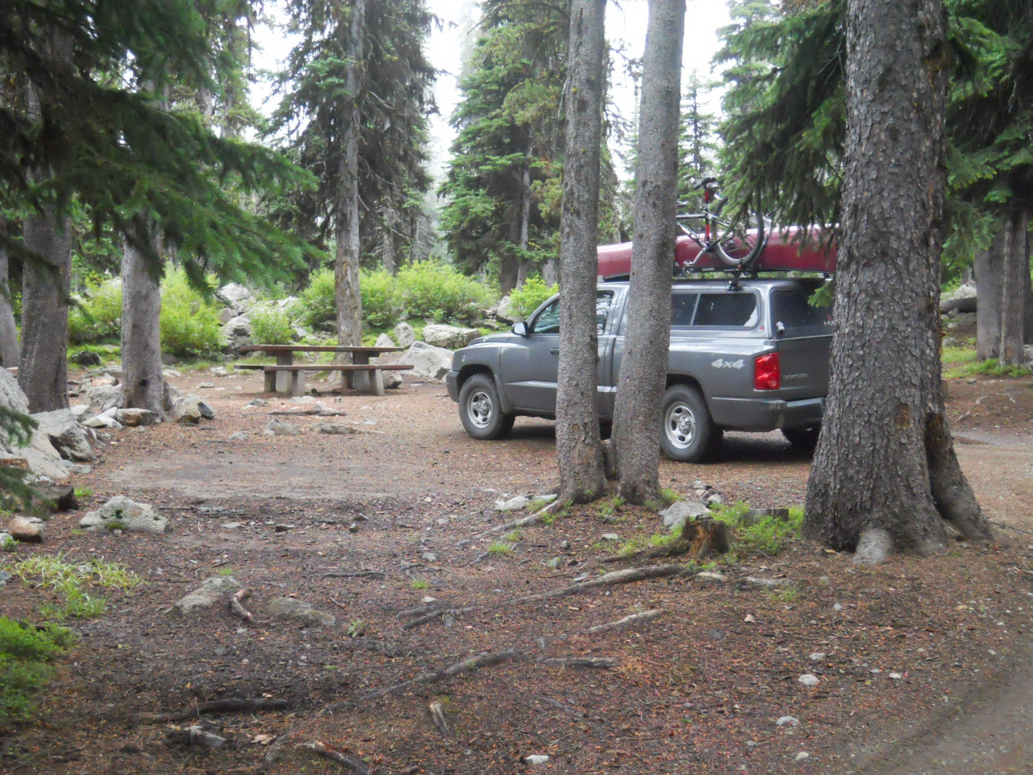 Truck with a canoe on top parked in a forested campsite