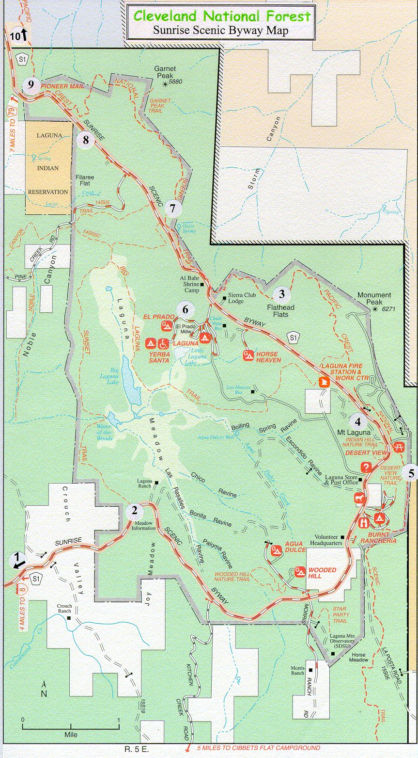 Map: A map showing the sunrise scenic byway.