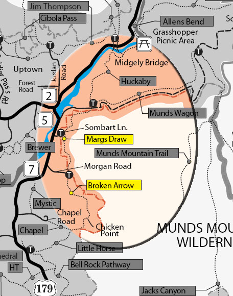 Forest Service - Map showing Margs Draw and Broken Arrow Trails