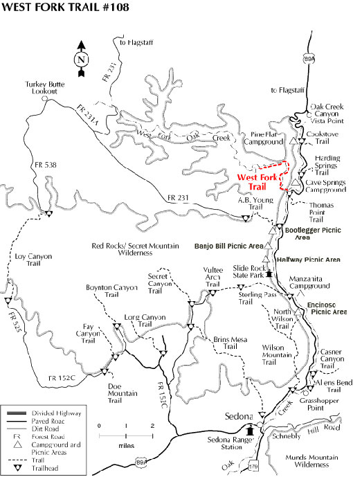 Map showing the West Fork Trail
