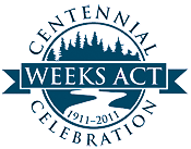 A blue version of the Weeks Act Centennial Logo