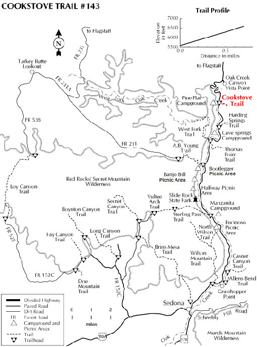 Map showing the Cookstove Trail