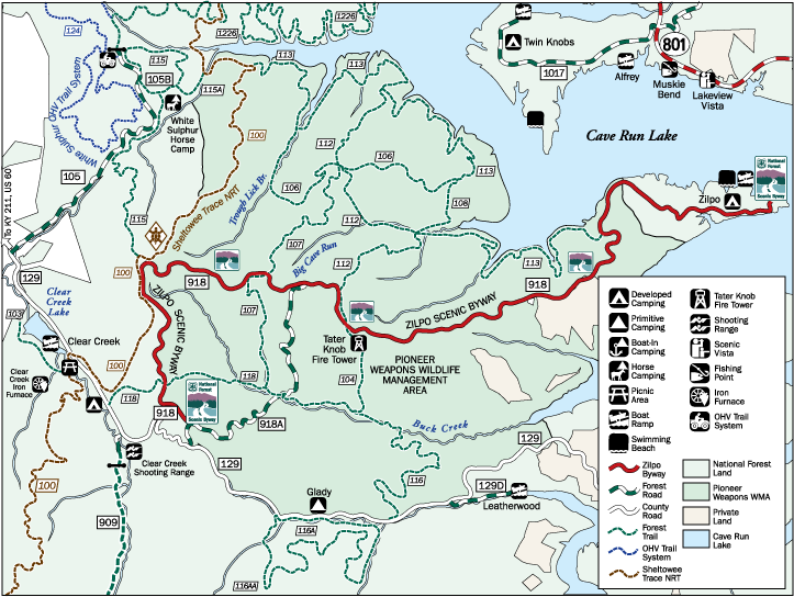 Zilpo Scenic Byway Map