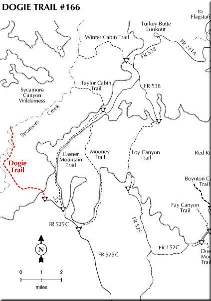 Map showing Dogie Trail