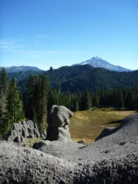 Triangulation Peak area with view of Mt. Jefferson in background and unusual rock formation in the foreground in the McCoy area