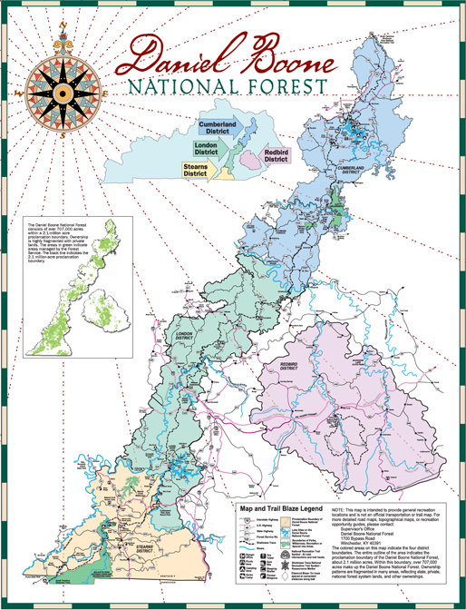 Daniel Boone National Forest Map Daniel Boone National Forest   About the Forest Daniel Boone National Forest Map
