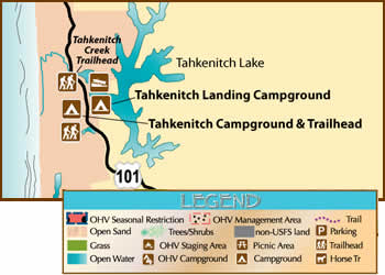 map of the Tahkenitch Area showing recreation opportunities
