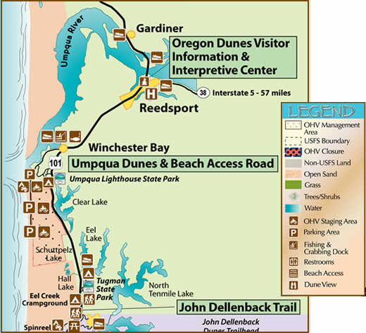map of the Umpqua Dunes Area showing recreation 