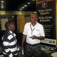 Ted Willis promoting opportunities of becoming a Forest Service employee at the SAF Convention.